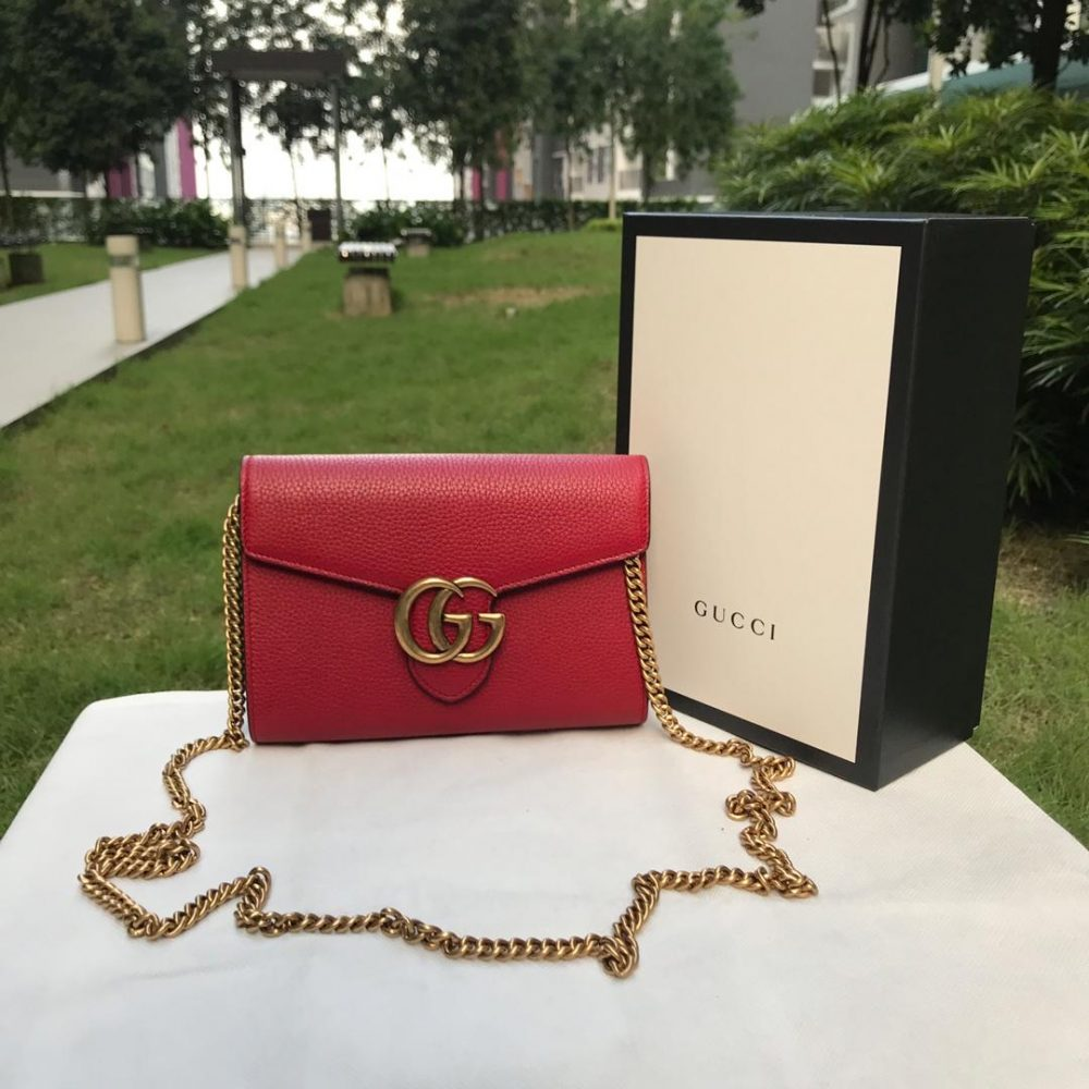 Gucci GG Marmont Leather Chain Wallet, Red